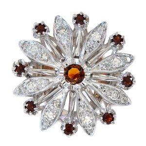 0.45 Ct Garnet & 0.50 Ct Diamond Vintage Gold Ring